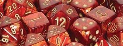 Scarab™ Scarlet™ w/gold Signature™ Polyhedral 7-Die Sets
