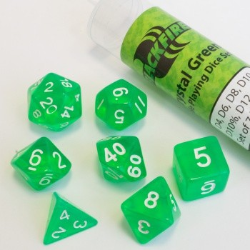 16mm Role Playing Dice Set - Crystal Green (7 Dice)