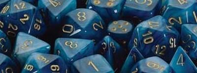 Phantom™ Teal w/gold Signature™ Polyhedral 7-Die Set
