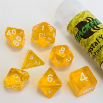16mm Role Playing Dice Set - Crystal Yellow (7 Dice)