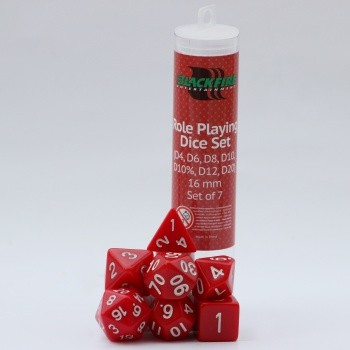 16mm Role Playing Dice Set - Red (7Dice)