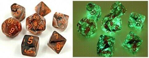 Lab Dice 4 Nebula: Poly Copper Matrix/orange Luminary (7)