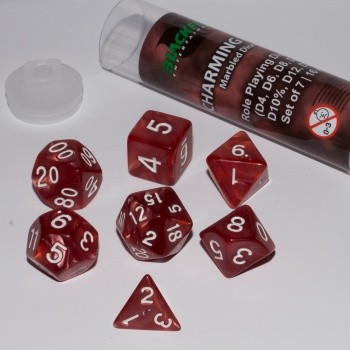 16mm Role Playing Dice Set - Charming Red (7 Dice)
