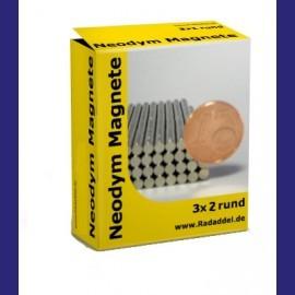 10 Neodym Magnete rund 3 x 2 mm