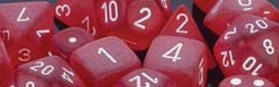 Frosted™ Polyhedral Red/white 7-Die Set