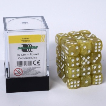 12mm D6 36 Dice Set - Marbled Yellow